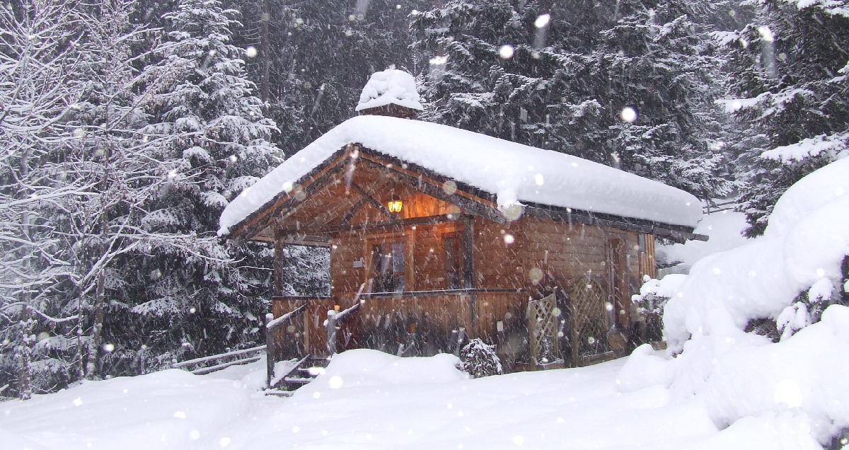 Aussen-Sauna aus Massivholz.